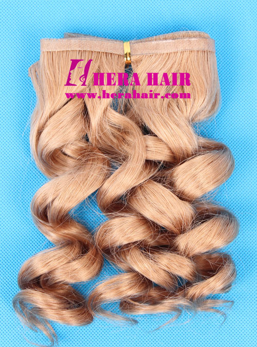 14 inches #8 Curly Malaysian Hand Tied PU Skin Weft Extensions