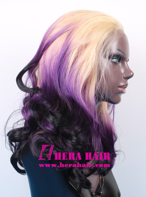 Blonde Purple Black Ombre color synthetic lace front wigs