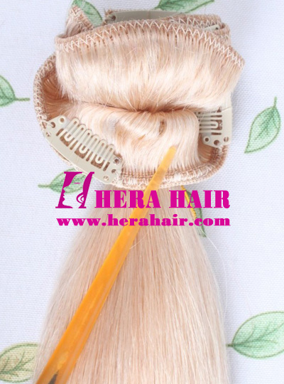 Blonde Indian Virgin Clips In Hair Extensions