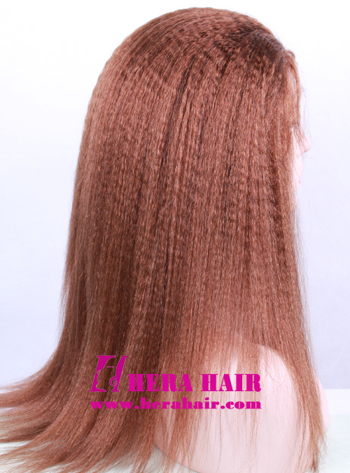 18 inches Kinky Yaki Brown Full Lace Wigs Side Picture