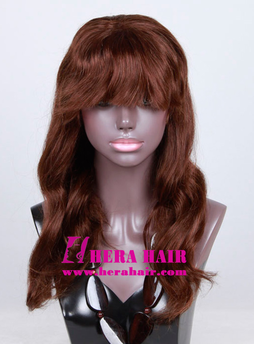 20inches Wavy Dark Brown Celebrity Full Lace Wigs with Bang