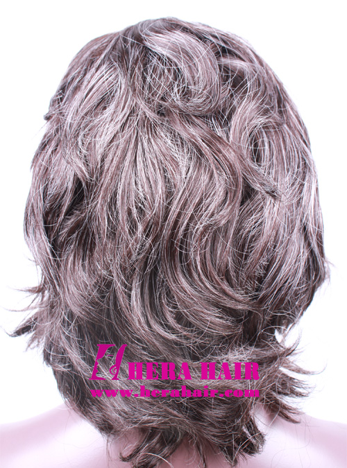 6 inches #2 mix Gray Hair Full Lace Wigs