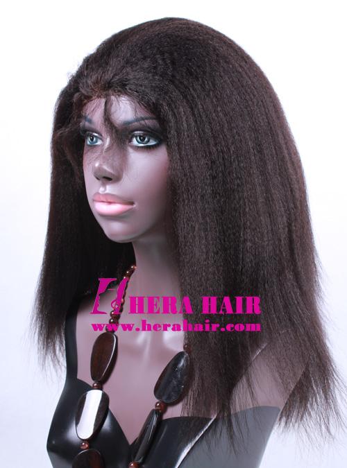 Kinky Yaki Off Black Glueless Full Lace Wigs