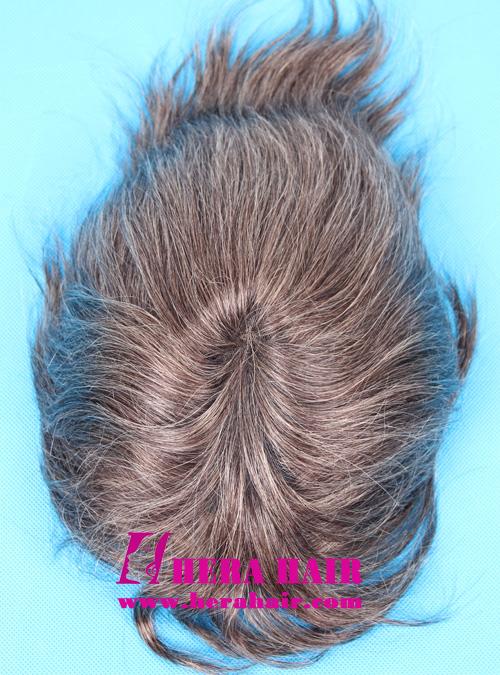 Hera black mix 25% gray hair men's toupees