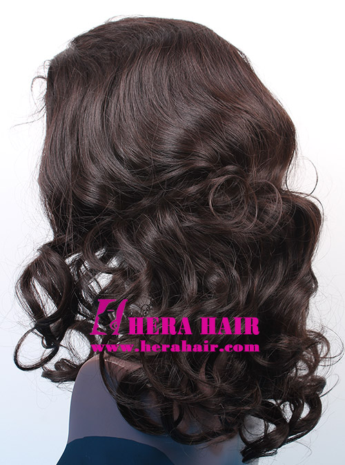 Custom Wavy Black Gold European Hair Glueless Full Lace Wigs Side Picture