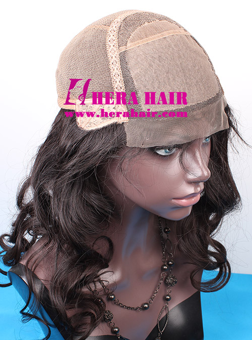 Custom Wavy Black Gold European Hair Glueless Full Lace Wigs Cap Picture