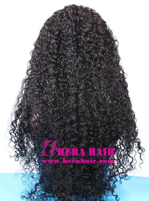 24 inches Long Jerry Curl Black Indian Hair Lace Front Wigs Back