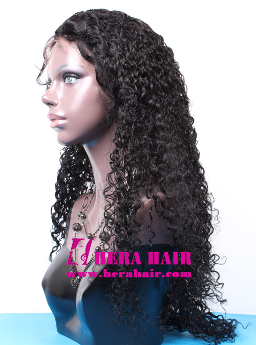 24 inches Long Jerry Curl Black Indian Hair Lace Front Wigs Side