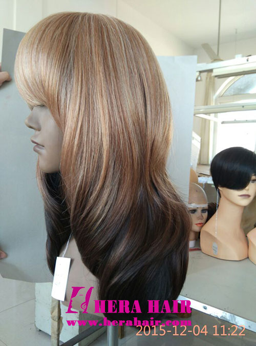Hera Ombre Color Synthetic Wigs with Bang Side Picture