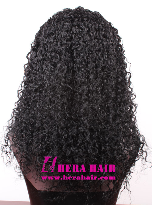 Hera 18 inches Curly Black Indian Remy Hair Full Lace Wigs stock
