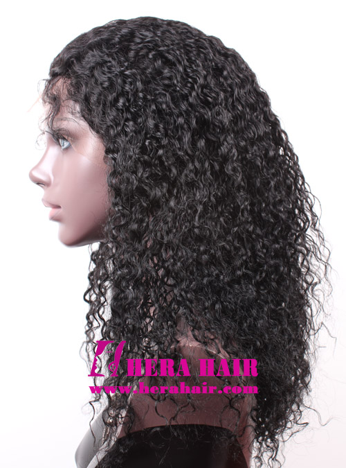 Hera 18 inches Curly Black Indian Remy Hair Full Lace Wigs