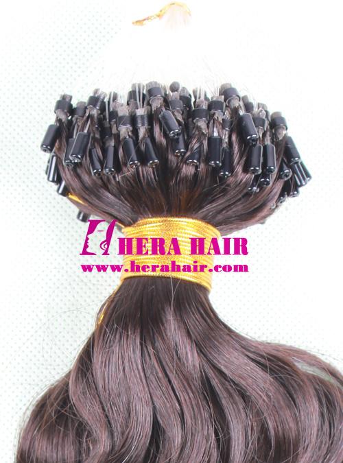 Wavy Indian Virgin Micro Loop Ring Hair Extensions