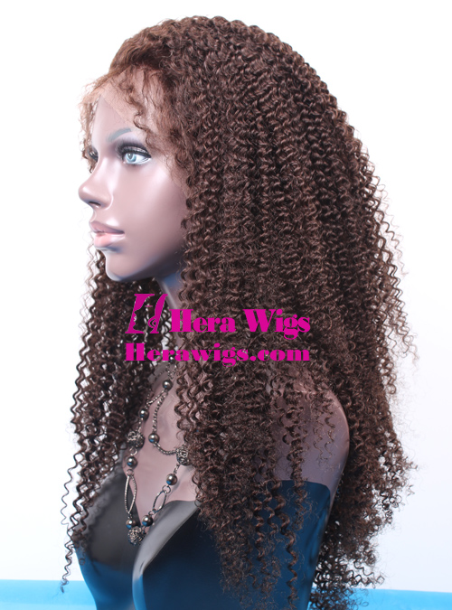 Beautiful Afro Curl Indian Hair Full lace Wigs