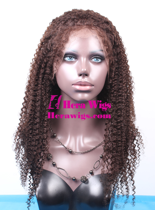 Afro Curl Brown Indian Hair Full Lace Wigs