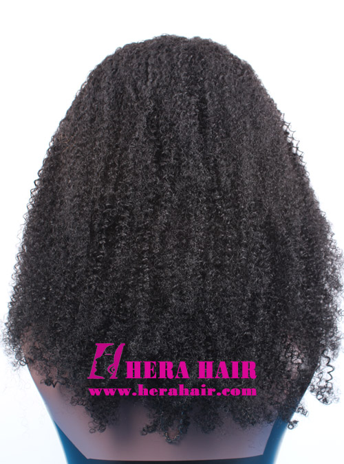 Hera afro kinky curl #1 Black Indian remy hair full lace wigs back picture