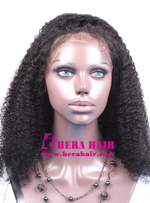 Hera afro kinky curl #1 Black Indian remy hair full lace wigs