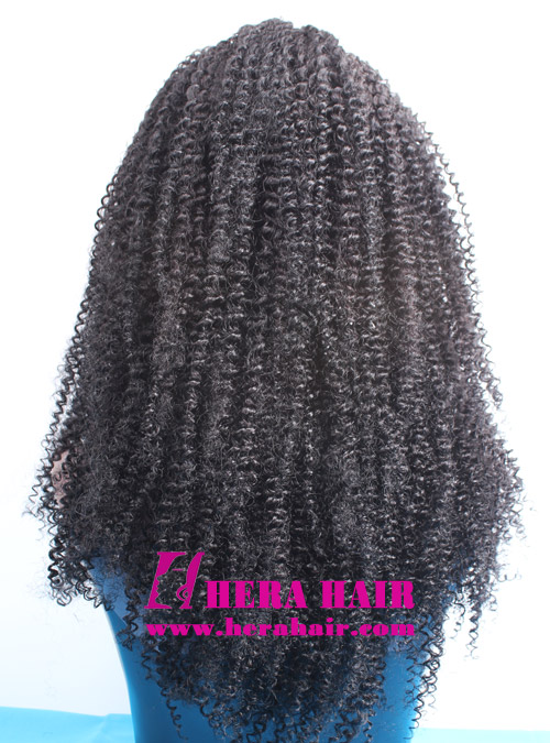 Hera stock 20 inches afro kinky curl #1 black Indian remy hair lace front wigs back picture