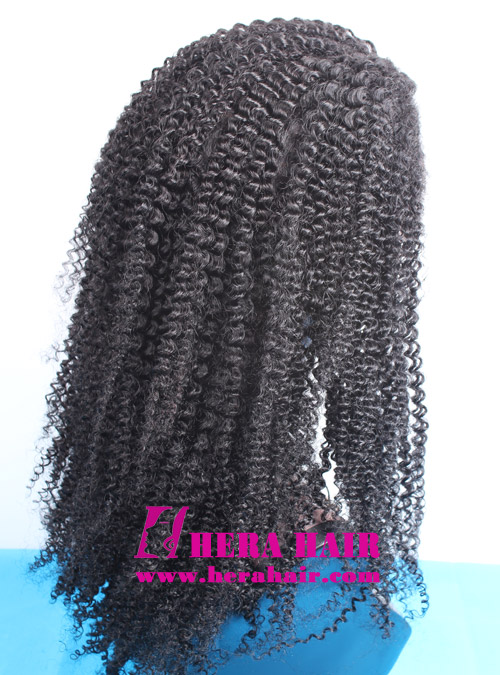 Hera stock 20 inches afro kinky curl #1 black Indian remy hair lace front wigs side picture