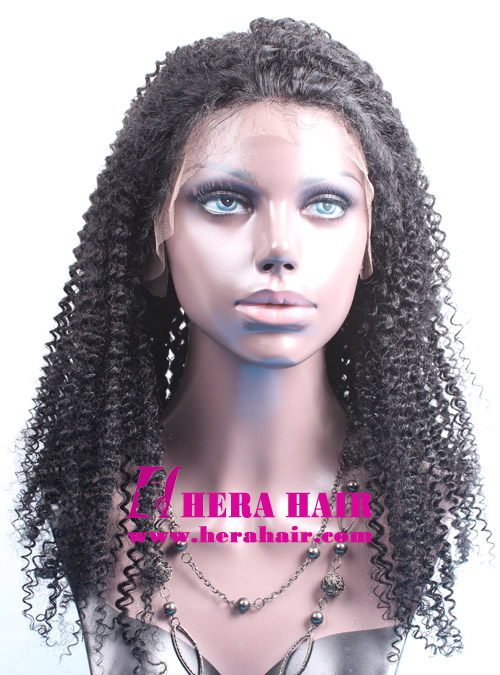 Hera stock 20 inches afro kinky curl #1 black Indian remy hair lace front wigs