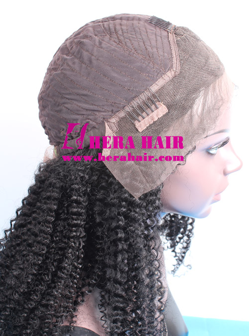 Hera stock 20 inches afro kinky curl #1 black Indian remy hair lace front wigs cap design