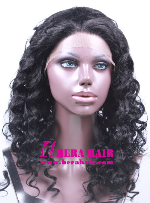 Curly Black Korean Synthetic Lace Front Wigs