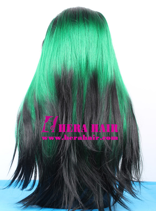 Black Dyed Green Synthetic Lace Front Wigs Back Picture