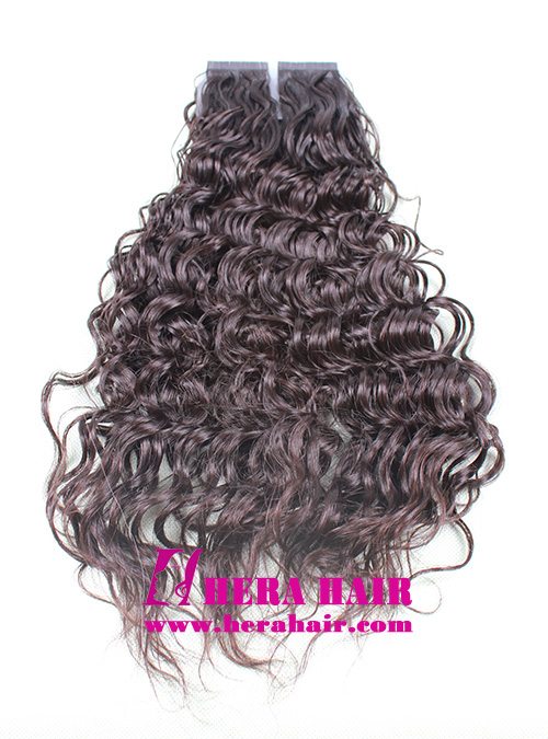 Curly Chinese Virgin Cuticle Hair Tape In Hair Extensions