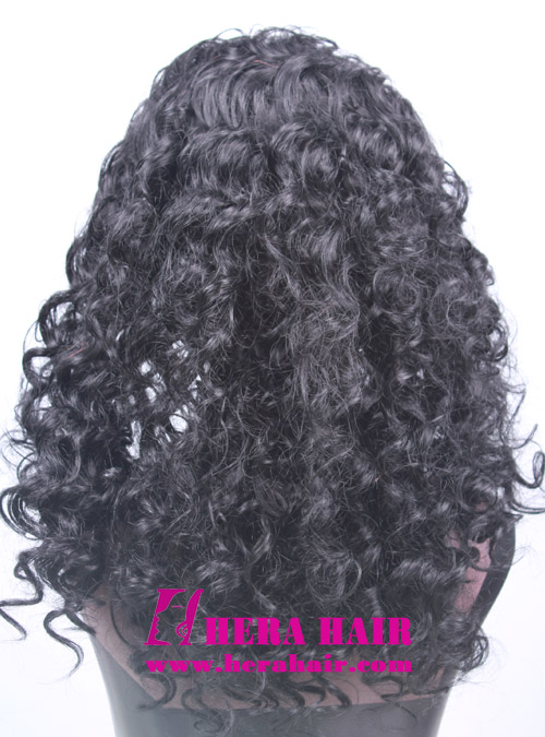 Curly Black Korean Synthetic Fibre Lace Front Wigs