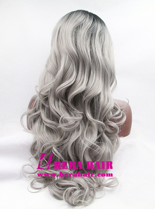 Wholesale Long Curly Gray Ombre Dark Root Color Hair Synthetic Lace Front Wigs