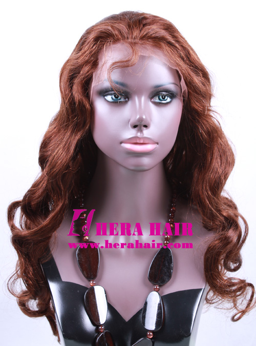 Custom 20 Inches #4 Brown Indian Full Lace Wigs