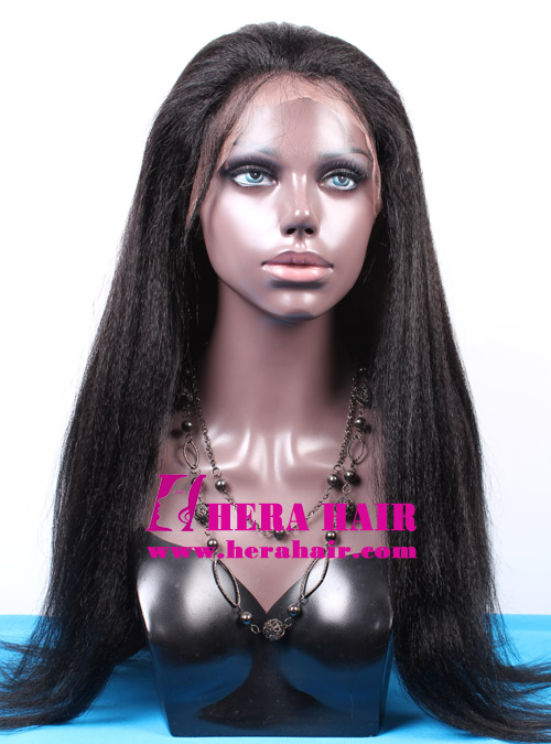 24 inhces Long Custom Kinky Yaki Black Malaysian Hair Lace Front Wigs