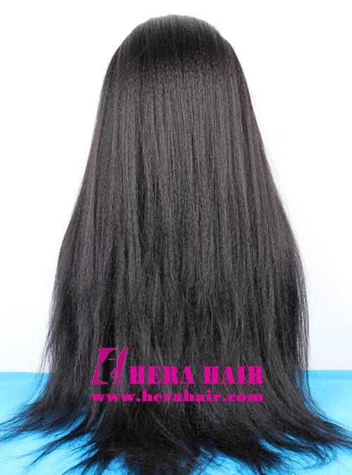 Long Custom Kinky Yaki Black Malaysian Hair Lace Front Wigs Back