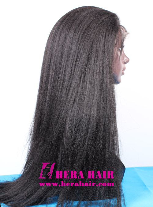 24 inhces Long Custom Kinky Yaki Black Malaysian Hair Lace Front Wigs Side Picture
