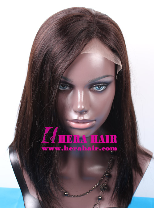 Custom Part Split #1B Indian Hair Lace Front Wigs