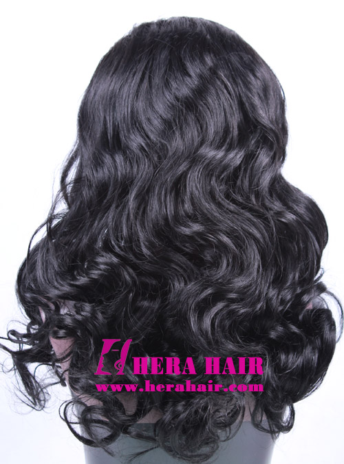 Hera Custom Wavy Black Brazilian Hair Full Lace Wigs Back Picture