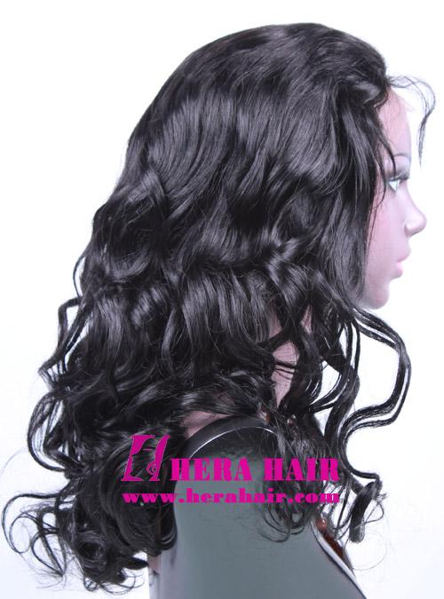 Hera Custom Wavy Black Brazilian Hair Full Lace Wigs Side Picture