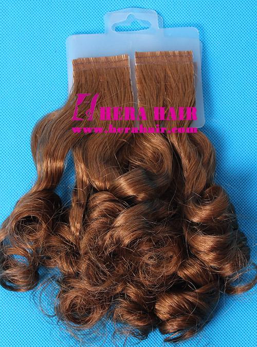 Hera Curly Brown European DN Tape In Hair Extensions