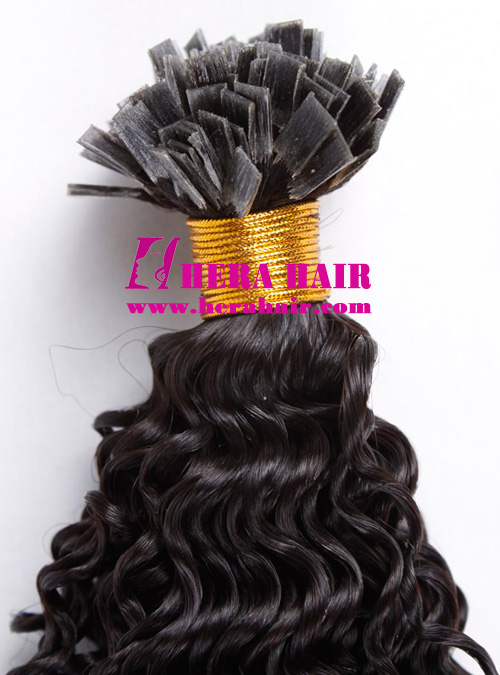Wholesale Flat Tip Curly Mongolian Fusion Hair Extensions