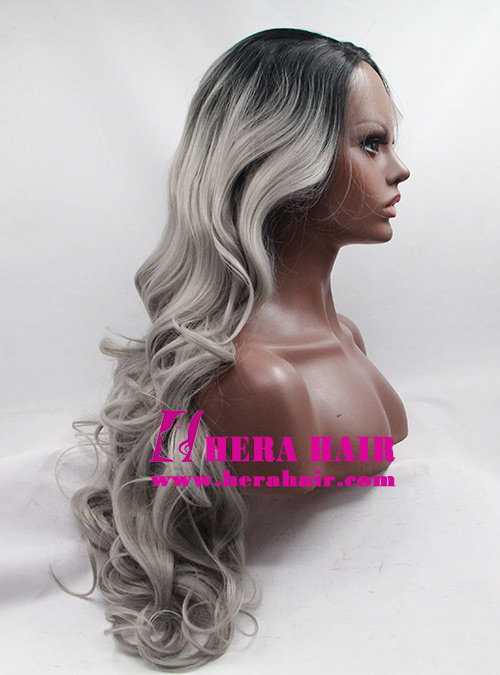 Wholesale Long Curly Gray Ombre Color Hair Synthetic Lace Front Wigs