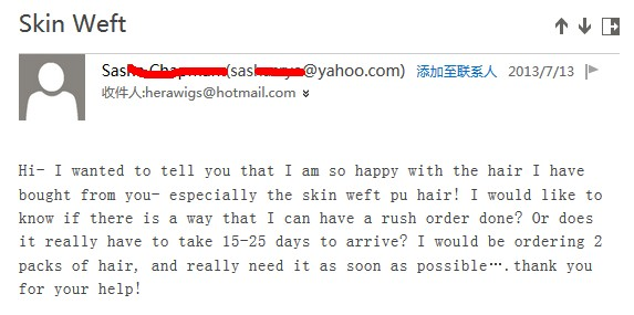 Hera's hand tied skin weft customer review