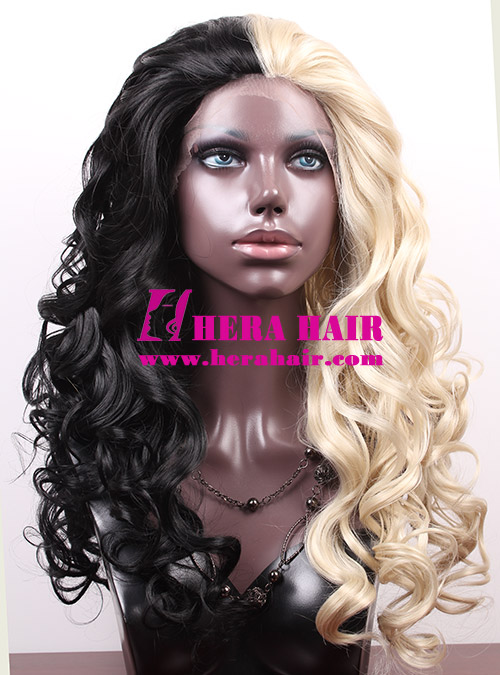 Ice or Fire Wavy Ombre Color Synthetic Lace Front Wigs