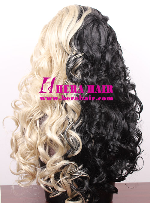 Ice or Fire Ombre Color Synthetic Lace Front Wigs Back Style