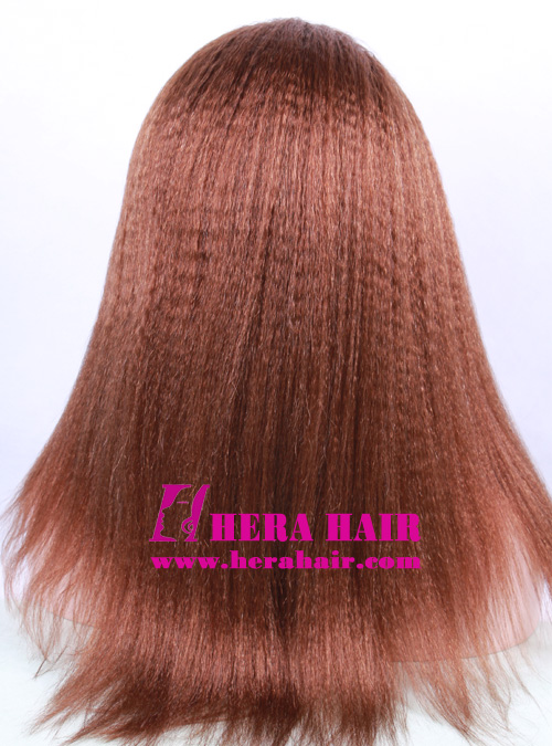 """18"""" #4 Kinky Yaki Brown Lace Front Wigs Back Picture"""