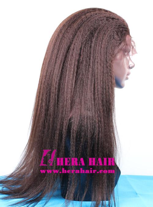 Kinky Yaki Darkest Brown Indian Hair Full lace Wigs