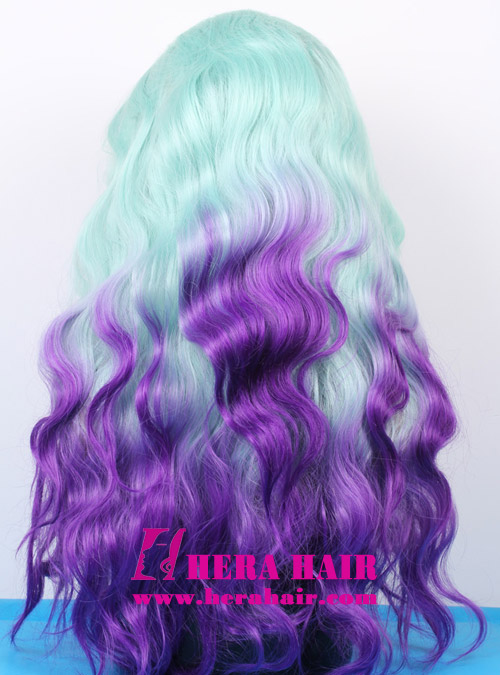 Hera 18 inches wavy ombre blue and purple color synthetic lace front wigs back picture