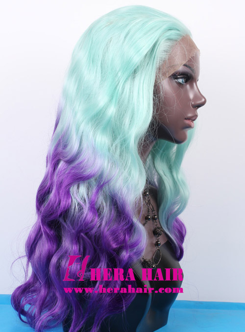 Hera 18 inches wavy ombre blue and purple color synthetic lace front wigs side picture