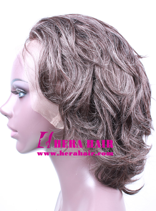 Short Brown Blend Gray Hair Full Lace Wigs
