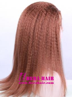 "18"" #4 Kinky Yaki Brown Lace Front Wigs Side Picture"