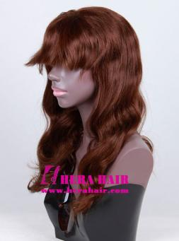 Wavy Dark Brown Celebrity Full Lace Wigs with Bang