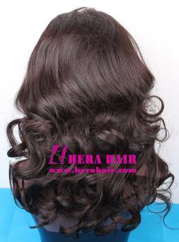 Custom Wavy Black Gold European Hair Glueless Full Lace Wigs